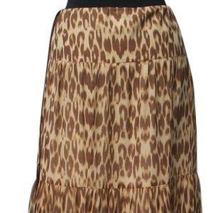 Silk Animal Evening Day Skirt Boho Hippie Lined